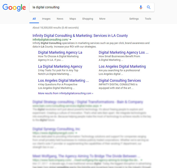 LA Digital Consulting google search - Infinity Digital Consulting